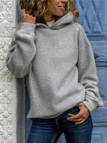Comfortable Solid Color Fleece Hooded Sweatshirt