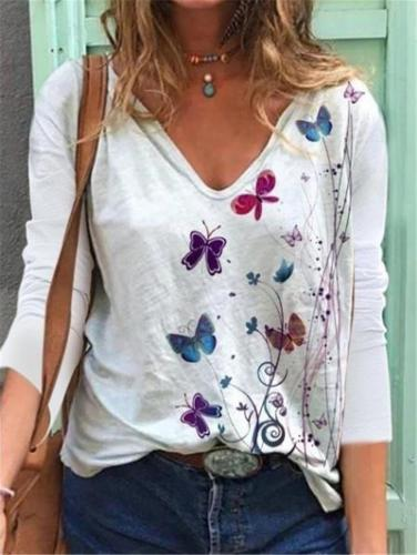 Relaxed Fit V Neck Butterfly Pattern Long Sleeve Pullover Tops