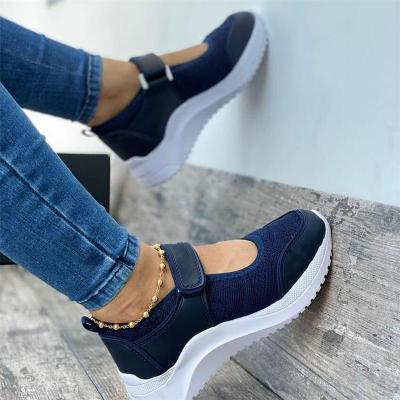 Casual Breathable Velcro Thick-Sole Cutout Mesh Walking Shoes