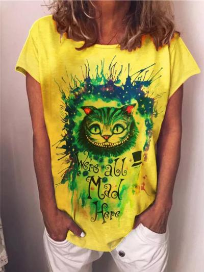 Loose Fit Round Neck Short Sleeve Cat Printed Casual T-Shirt