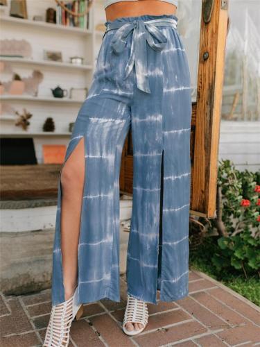 Fashionable Tie-Dye Waistband Front Slit Wide-Leg Pants
