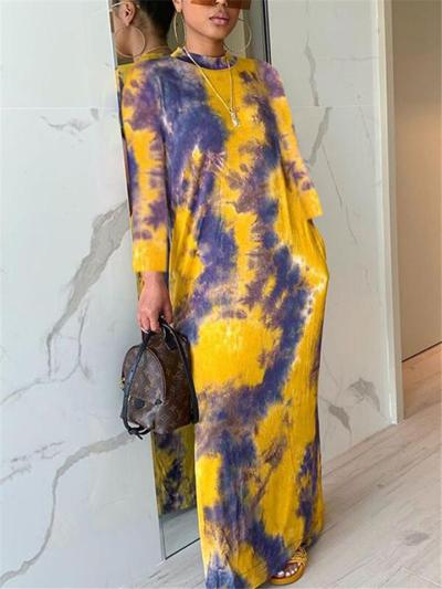 Trendy High Neck Long Sleeve Tie-Dye Pocket  Maxi Dress