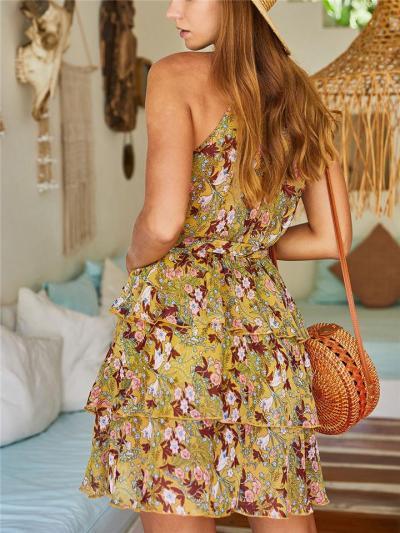 Trendy Halter Neck Floral Sleeveless Waist Tie Ruffle Mini Dress