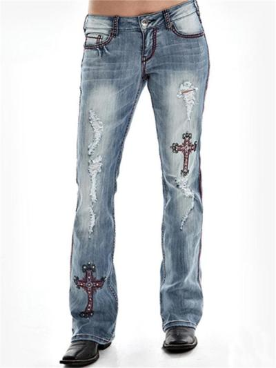 Casual Style Mid-Rise Embroidered Ripped Pocket Straight Jeans