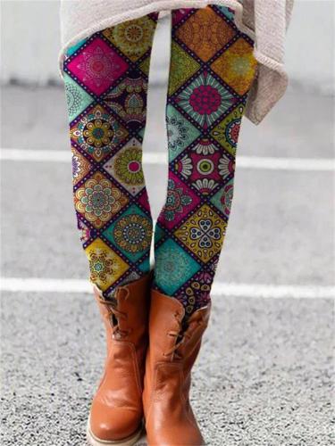 Stylish Winter Warm Multicolor Floral Pattern Elastic Leggings