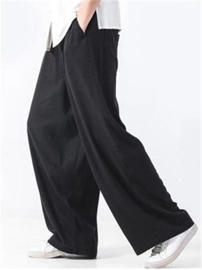 Mens Loose Straight Cotton&Linen Pants