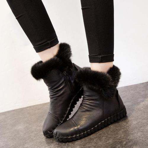 Trendy Warm Breathable Zipper Genuine Leather Short Boots