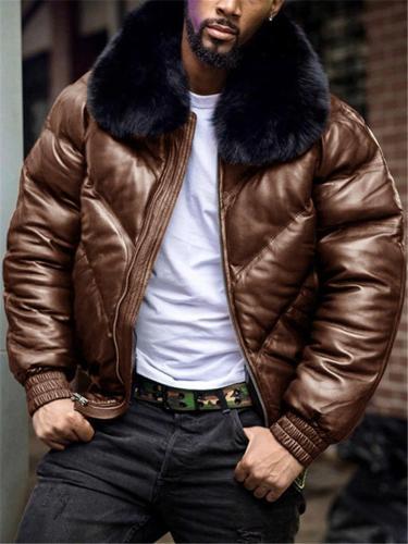 Mens Winter Luxury Fur Collar Casual Loose Coat