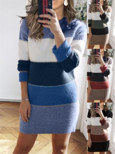 Casual Color Block Ribbed Knit Sweater Dress