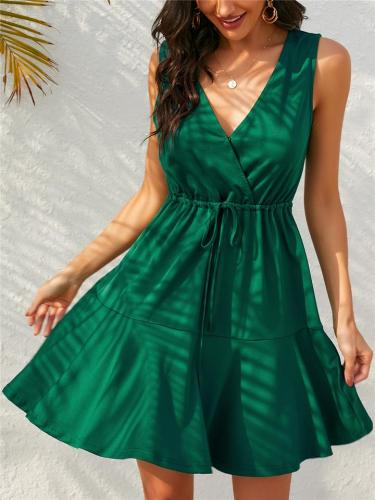 Pretty Warp V Neck Waist Tie Sleeveless Pleated Flare Mini Dress
