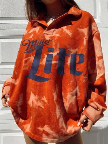 Oversized Tie-Dye Letter Printed Lapel Collar Sweatshirt
