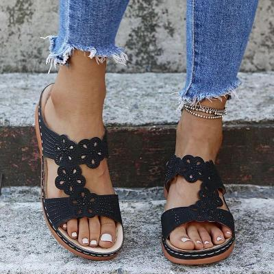 Open-Toe Floral Cutout Rhinestone Soft Footbed Wedge Heel Slippers