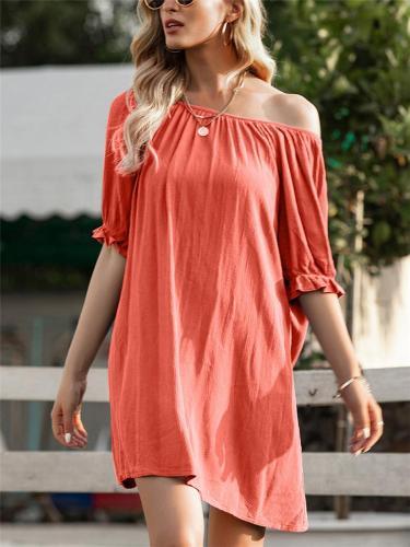 Fashionable Solid Color Off Shoulder Half Sleeve Midi Dress
