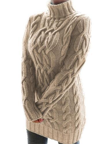 Ultra Comfortable Turtleneck Ribbed Knit Midi Sweater