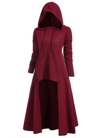 Relaxed Fit Drawstring Hooded Stretchy High Low Pullover Cloak Dress