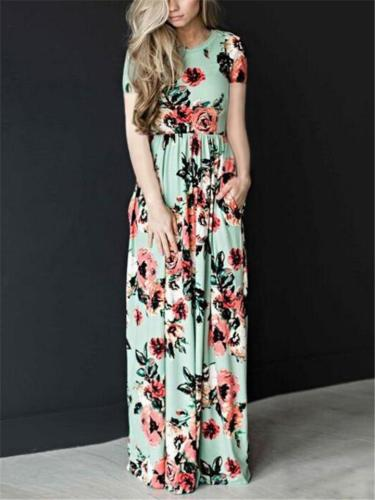 Pretty Round Neck Floral Short Sleeve Fitted Waist Maxi Dress