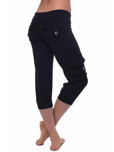 Stretch-Fit Drawstring Fastening Multi-Pocket Lightweight Capri Pants