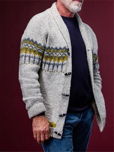 Vintage Grey Printing Knitting Shawl Collar Cardigan