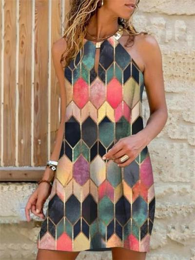 Halter Neck Thigh-Length Sleeveless Multicolor Print Mini Dress