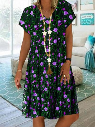 Casual Fit V Neck Short Sleeve Floral Printed Pullover Midi Dress