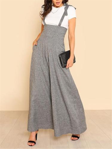 Fashionable Square Neck Sleeveless Strappy Wide-Leg Cotton-Linen Jumpsuit