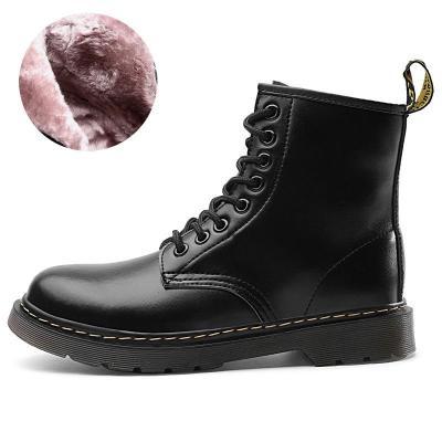Unisex Stylish Fur Lining Genuine Leather Lace Up Non-Slip Boots