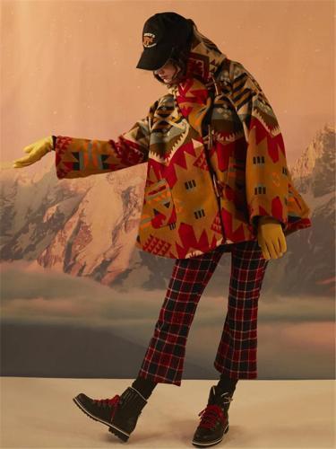 Women's Long Sleeve Figure Printed Hoodie Woolen OverCoat