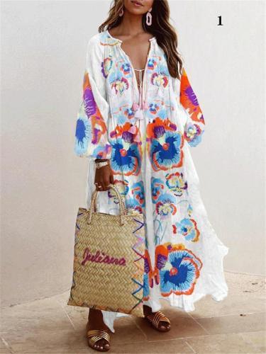 V-neck Long Sleeve Print Long Loose Dress