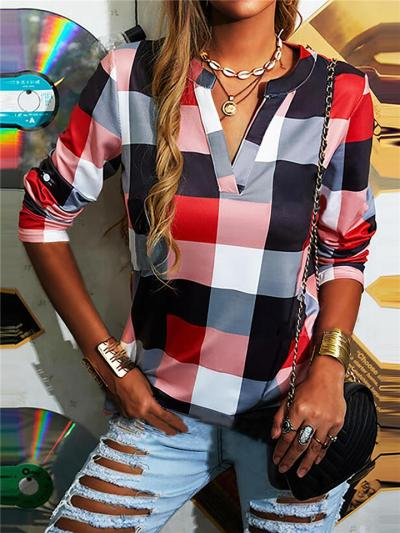 Regular Fit Notched V Neck Long Sleeve Plaid Pullover Tops