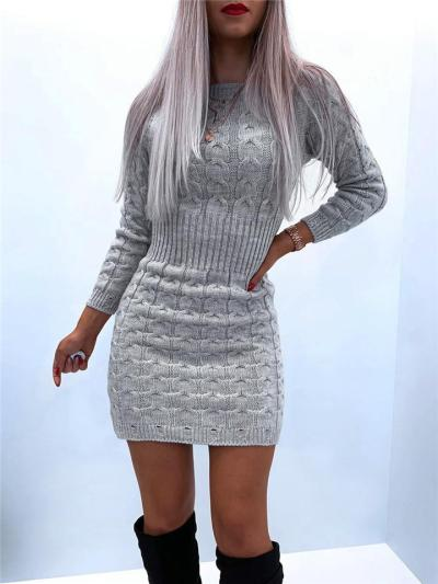 Fashionable High Neck Long Sleeve Ribbed Knitted Sweater Dress