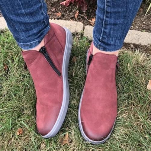 Women Fashion Side Zipper Round Toe Flat Casual Shoes