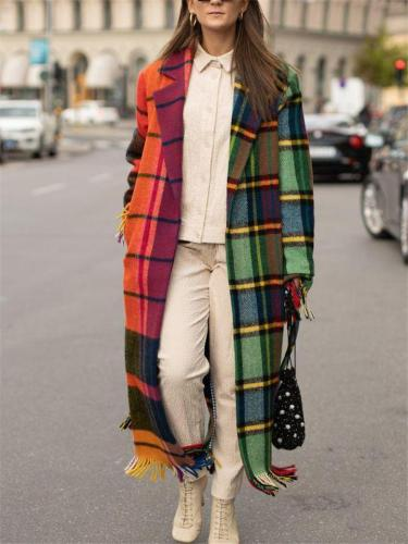 Stylish Lapel Collar Frayed Hem Contrasting Plaid Woolen Coat