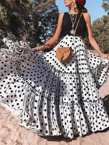 Plus Size Elastic Waistband Polka Dot Pleated Ruffle Flare Beach Maxi Skirt