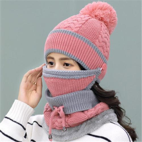 Warm Fur Lining Knit Cold-Weather Set Beanie Cap + Face Mask + Adjustable Drawstring Scarf