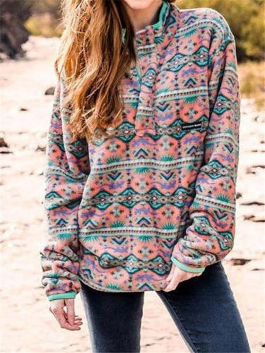 Comfortable Stand Collar Printed Long Sleeve Pullover Sweatshirt