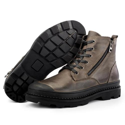 Men's Genuine Leather Breathable Double Zippers Antiskid Martin Boots