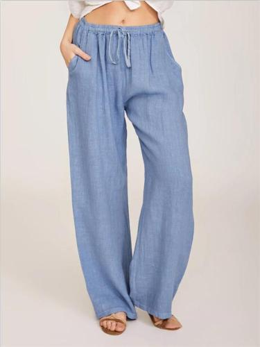 Casual Fit Solid Color Cotton Linen Drawstring Elastic Waist Pocket Trousers