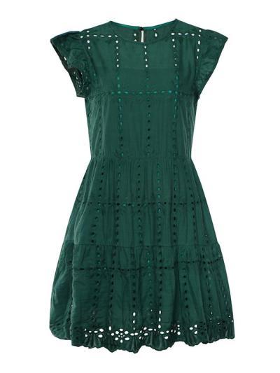 Feminine Cutout Design Cap Sleeve Pleated Ruffled Flare Dress