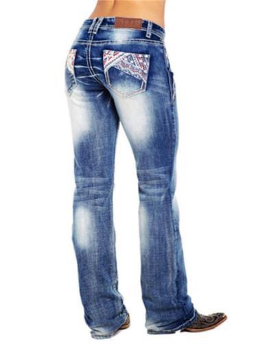 Stylish Embroidery Washed Effect Pocket Straight Leg Jeans