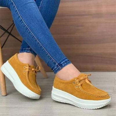Comfortable Thick-Sole Lace-Up Low-Cut Suede Walking Shoes