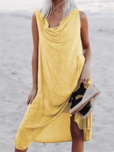Retro Style Solid Color Cowl Neck Sleeveless Lightweight Midi Dress