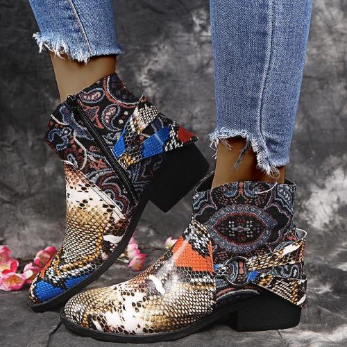 Soft Colorful Snakeskin Metal Buckle Block Heel Ankle Boots