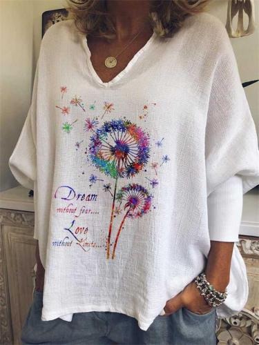 Oversized V Neck Dandelion Butterfly Printed Long Sleeve T-Shirt