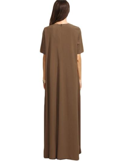 Minimalist Style Round Neck Solid Color Short Sleeve Baggy Maxi Dress