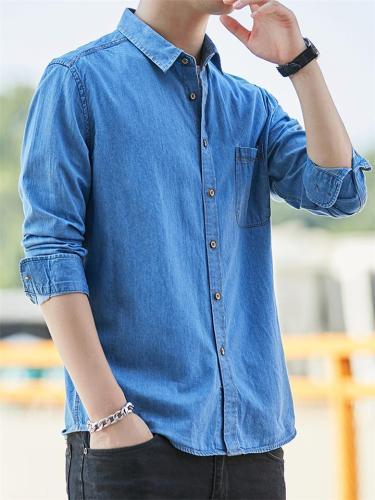 Men's Casual Classic Denim Cotton Long Sleeve Thin Shirts