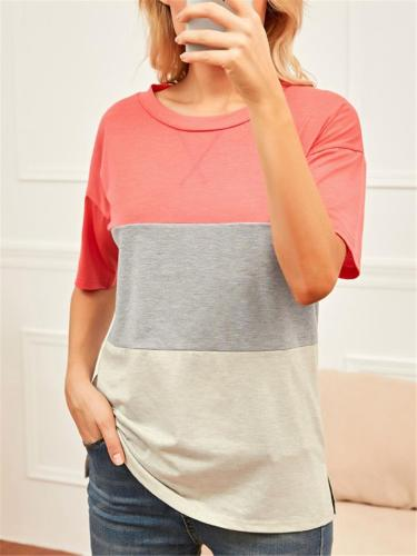 Casual Style Round Neck Short Sleeve Contrasting T-Shirt