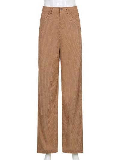 Comfortable High Waist Draped Corduroy Straight Wide Leg Pants