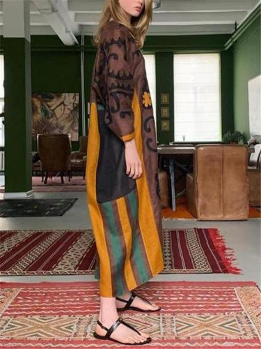 Ethnic Style Loose Fit V Neck Printed Long Sleeve Dress