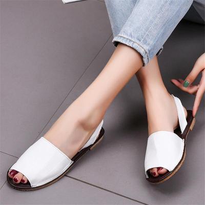 Casual Style Peep Toe Elastic Band Flat Heel Sandals