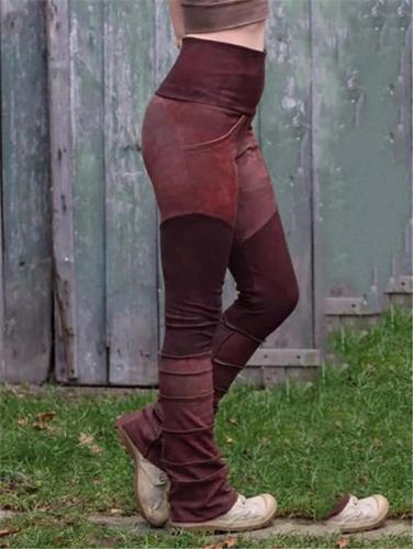Casual High Waist Elastic Color Block Skinny Pants